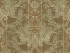 Wallpaper Designer Bronze Gold Damask on Wide Stripe with Faux Crackle