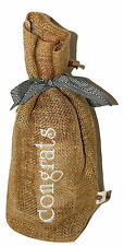 Burlap Embroidered Wine Gift Bags-Congrats-Keep On Hand for Last Minute Gifts