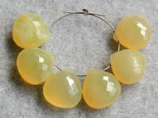 Natural Yellow Opal Faceted Heart Briolette Semi Precious Gemstone Beads 006