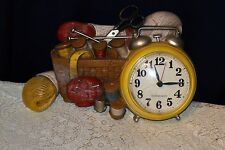 New Haven Quartz Battery Operated Hard Plasic Clock-Sewing Basket Design #1562
