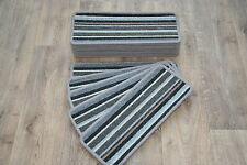 14 Striped Open Plan Carpet Stair Treads Sliver / Grey Pads! 14 Large Pads!