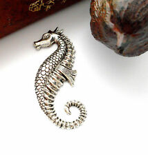ANTIQUE SILVER Large SEAHORSE Stampings - Jewelry Findings (E-19) `