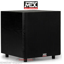 "MTX TSW10 10"" Powered Home Theater Subwoofer 150 Watt Amp Line Down Firing Sub"