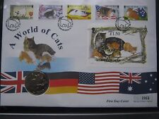 Isle of Man 1996 Crown A World of Cats First Day Coin Stamps Cover FDC info card