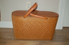 Vintage Large Redmon  Picnic Basket~Peru Indiana With Inner Tray
