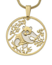 "Panda Bear Pendant & Necklace.Chinese Coin Hand cut - 3/4"" diameter ( # 365 )"
