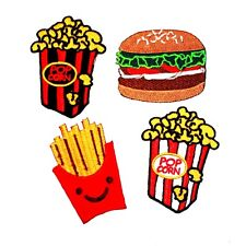 NEW! SET BURGER FRENCH FRIED FAST FOOD POPCORN UNIQUE EMBROIDERED IRON ON PATCH