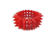 NEON RED CYBER SPIKE BRACELET SPIKED STUDDED ROCK GOTH PUNK EMO CANDY RAVE