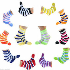 New 6 Pairs Rich Cotton Ladies Women Striped Five Fingers Toe Ankle Socks Mixed
