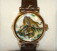 Flying Tourbillon Gold Wristwatch with Hand Painted Enamel Chinese Tiger Zodiac