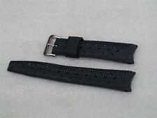 New Old Stock  Black Genuine Tropic 18mm Rubber Watch Strap - Curved Ends