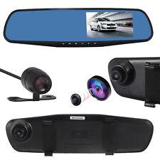 HD 1080P Dual Lens Car DVR Rearview Mirror + Camera Video Recorder Dash Cam