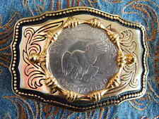 New Large USA American One Dollar Coin Eagle Gold Metal Belt Buckle  Western