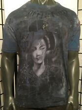 "AFFLICTION LARGE BAMBOO SHIRT, TATTOO,ANGEL,MMA""Geisha ""JIU JITSU,MUAY THAI"
