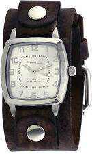 Nemesis NFB017S Men's Vintage Square Collection Charcoal Wide Leather Band Watch