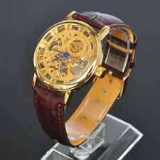 New SOKI Gold Analog Manual Winding Mens Mechanical Wrist Leather Band Watch W01