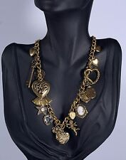 Victorian Revival Sweet Heart Romantic Multi Charm Gold Tone Necklace