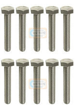 Pack 10 - M10X100 Hex Set Screw Threaded Zinc Hexagon Head Bolt Bzp Fixing (10mm