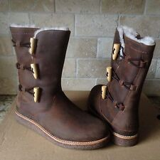 UGG Kaya Chocolate Water-resistant Oiled Leather Boots US 8 Womens 1012035