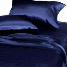 6-PC Navy Soft Satin Silky Sheet Set  King Size Flat Fitted Pillows 500TC