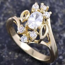 18K Real Gold Filled Clear Cubic Zirconia Womens Ring Size 7