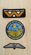WEYLAND Yutani Megacorp Prometheus Crew Wings Patch set of 3 Iron on