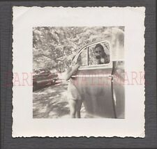 Unusual Vintage Photo Woman & Cute Girl in Car Window 664905