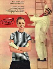 PUBLICITE ADVERTISING 045  1956  TRICOSA  pull laine MERINOS jupe EVERPLEAT