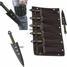 6PC Ninja Naruto Tactical Combat Hunting Kunai Throwing Knife Set w/ Sheath Case