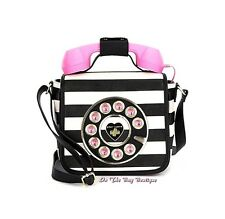 Betsey Johnson Call Me Baby Pink & Black Phone Crossbody Bag Purse Handset NWT