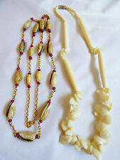 Lot of 2 Shell neckalces white Mother of Pearl red spacers link chain Fashion