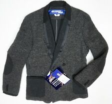 NEW JUNYA WATANABE COMME DES GARCONS CHARCOAL WOOL KNITTED TUXEDO JACKET SZ S