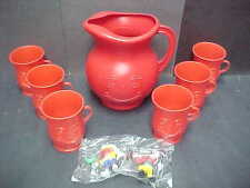 Vintage 80's Kool-Aid Man Pitcher and Cup Set + PVC lot Ad Figure KoolAid Kraft