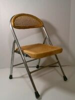 Mid Century Danish Modern Childs Wicker Cane and Chrome Folding Chair