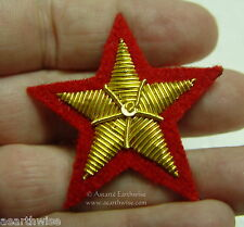 RED & GOLD STAR CLOTHING PATCH SEW ON 40mm DIAMETER Wicca Pagan Witch Goth