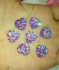 DIY 40PCS Purple AB Resin Heart flatback Scrapbooking for phone wedding craft