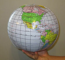 1 NEW INLATABLE WORLD GLOBE BEACH BALL INFLATE EARTH MAP TEACHER AID GEOGRAPHY
