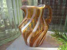VINTAGE AMBER SWIRL ART GLASS CANDY CANE STRIPE MINI PITCHER MURANO BLENKO