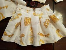 NWT NEW Young Versace girls white and gold Baroque skirt 6y NEW SEASON