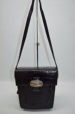 Brighton ONE WORLD Rare Small Box Croco And Leather Shoulder Bag Purse