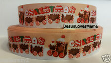 Grosgrain Ribbon, Merry Christmas Gingerbread Choo Choo Train Peppermint, 1""