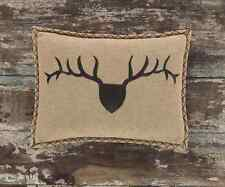 TROPHY BUCK ACCENT PILLOW : BURLAP HUNTING CABIN LODGE DEER ANTLER TOSS CUSHION