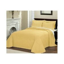 King Oversized Bedspread Gold Quilted French Tile Bedroom Cotton 120 x 118 Inch