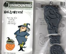 New cling ART IMPRESSIONS RUBBER STAMP Set Halloween witch Wanda saying pumpkin