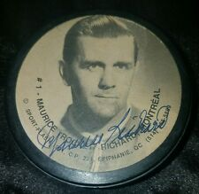 Maurice Richard Signed Autographed Montreal Canadians hof PHOTO Puck SCARCE