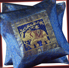 PAIR (TWO) OF SILK BROCADE PILLOW/CUSHION COVER BLUE COLOR FROM INDIA ! !