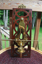 Vintage wood & heavy brass wall candle holder and snuffer
