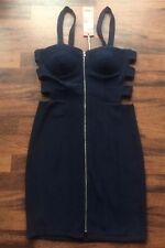 NEW BNWT NAVY BLUE CAGE CUT OUT BODYCON BUSTIER STRETCH BANDAGE DRESS SIZE 10