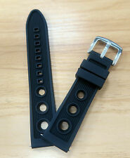 22mm Silicone Rubber Watch Strap Band Polish Buckle 2 x Spring Bars Pilot Style