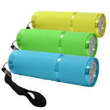 """3x Helle LED Taschenlampe Flashlight mit 9 LED leicht """"leuchtet im dunkeln"""" NEU"""